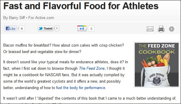 active.com review The Feed Zone Cookbook