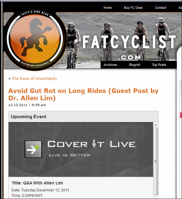 Feed Zone Cookbook gut rot fat cyclist