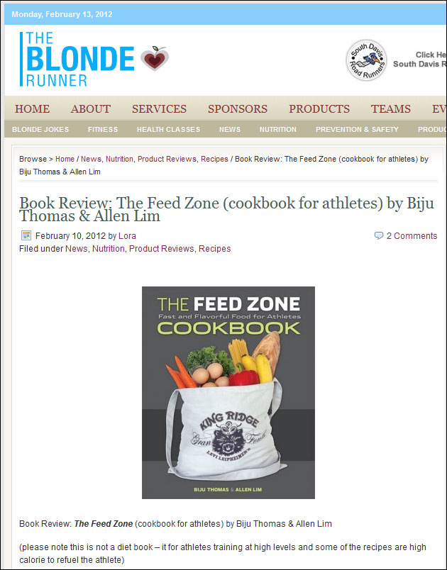 blonde runner feed zone cookbook