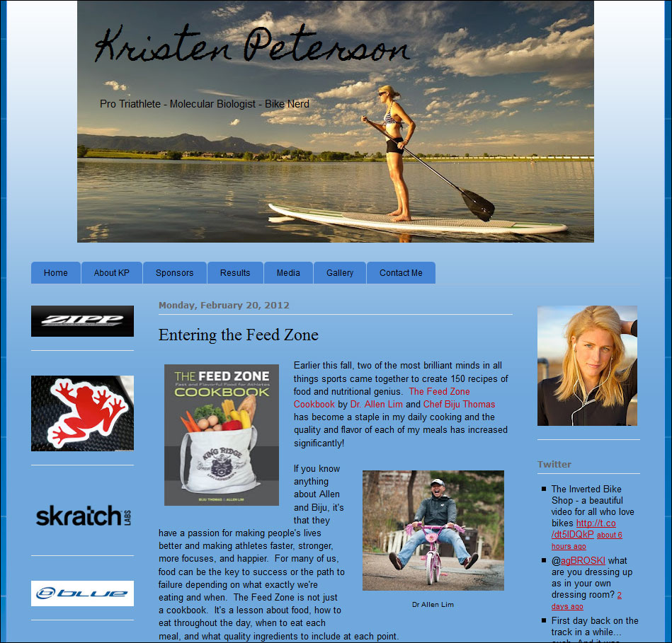 the feed zone page  kristen peterson feed zone cookbook