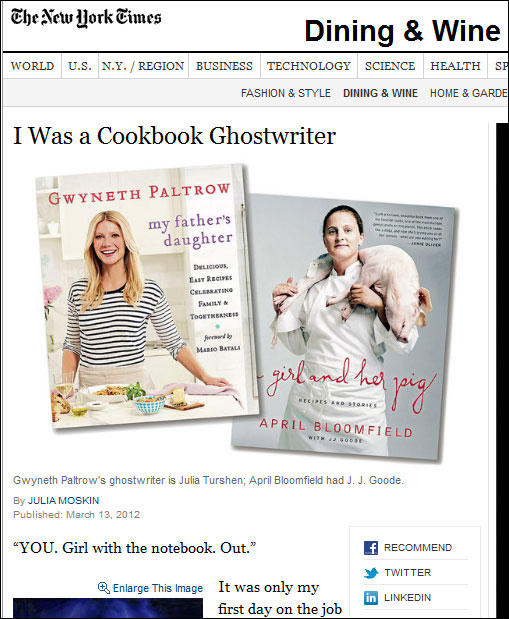 cookbook ghostwriter