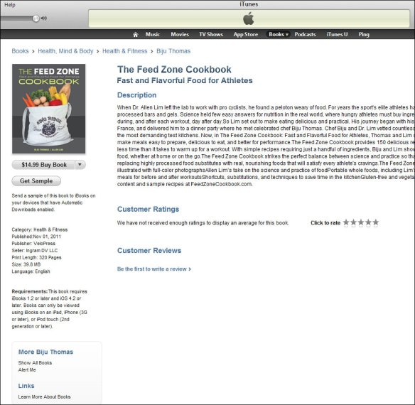 The Feed Zone Cookbook e-book on iTunes iPad Apple iBookstore