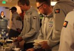 Riders eat a Skratch Labs breakfast at the Tour of California
