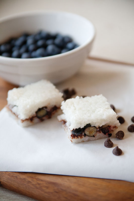 Feed Zone Portables sample recipe: Blueberry & Chocolate Coconut Rice Cakes