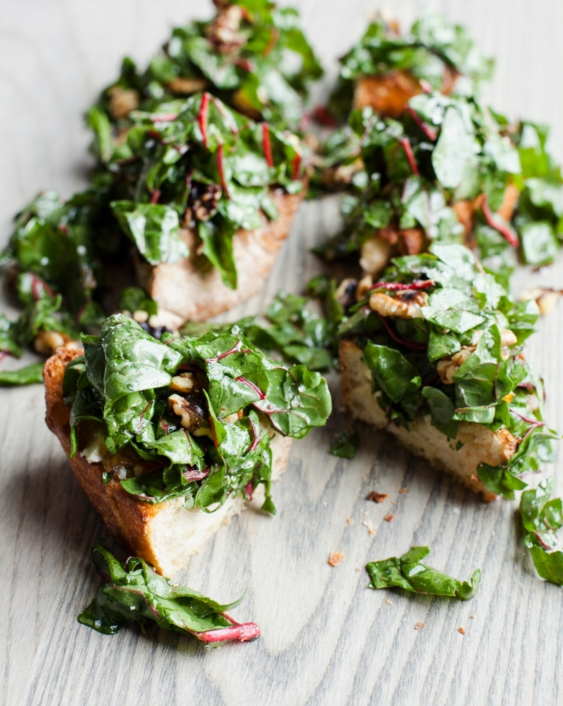 Bitter Chard on Grilled Bread Feed Zone Table by Biju Thomas and Allen Lim