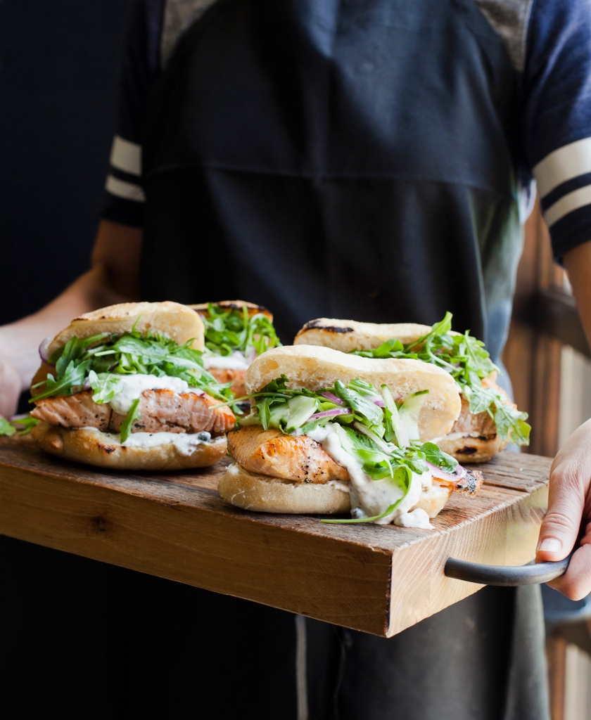 Salmon Steak Sandwiches with Mustard Dressing Feed Zone Table by Biju Thomas and Allen Lim